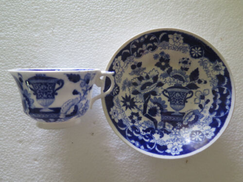 RARE HILDITCH & SON BLUE & WHITE CABINET CUP & SAUCER 1822 - 1830 STAFFORDSHIRE