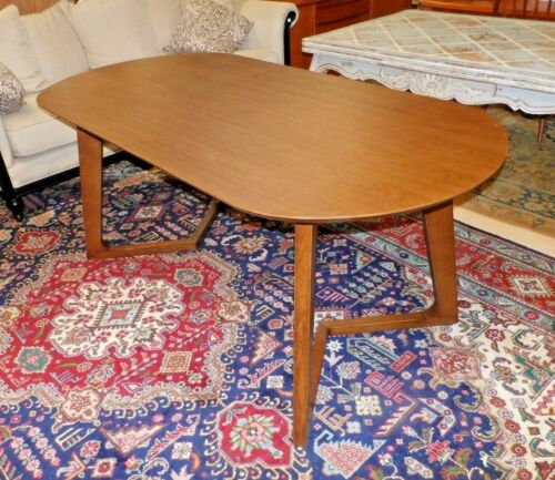 Mid Century Modern Oval Wood Dining Table with V Legs Midcentury