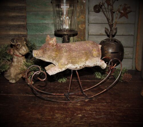 Primitive Antique Vtg Style Country Farm Barn Yard Hog Rock'in Rocking Pig