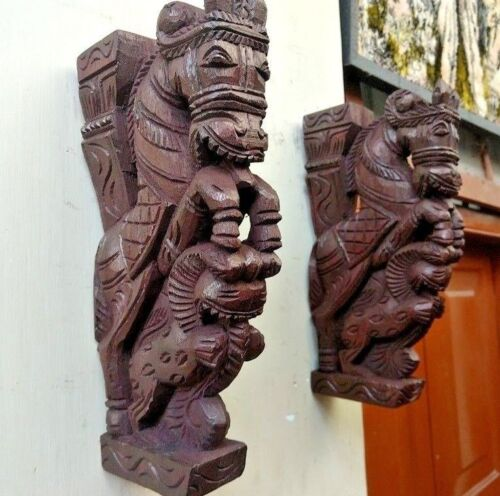 Wooden Wall Corbel Pair Horse Sculpture Bracket Dragon Yali Statue Home Decor