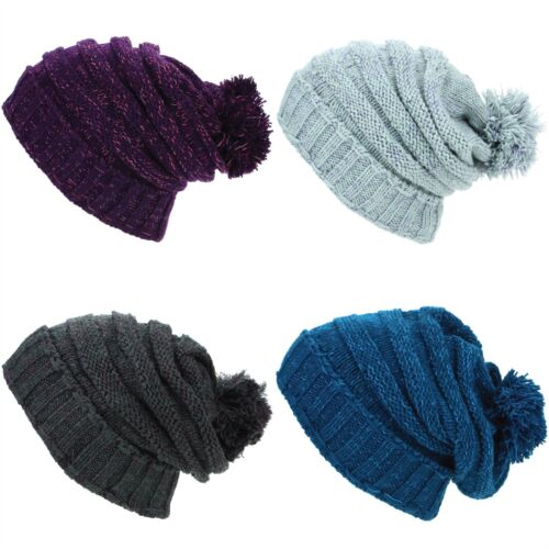 Beanie Hat Cap Bobble Baggy Slouch Warm Winter Ribbed Lined LoudElephant  Acrylic 356695b68241