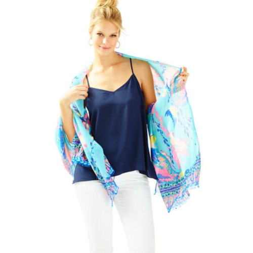 Nuovo Lilly Pulitzer Resort Sciarpa Shorely Blu Sandstorm Engeneered Pesce Mare