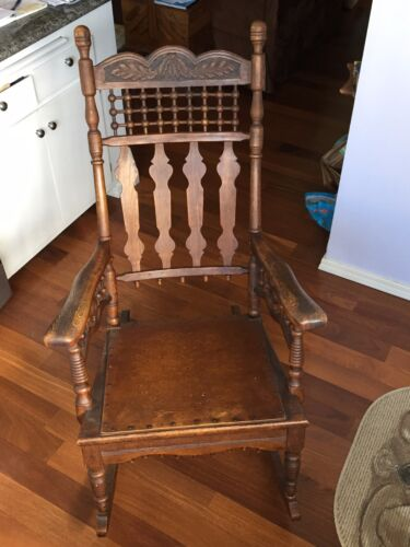 Antique Oak Rocking Chair Rocker w oak leaf carving and acorn details - UNIQUE
