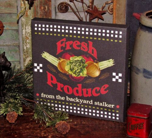 Primitive Antique Vtg Style General Store Fresh Produce Garden Wall Canvas Sign
