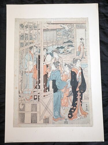 "Japanese Meiji Woodblock Print Reproduction ""Women w. Gifts"" by Shunko (***)"