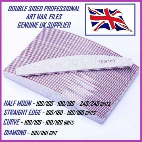 100/180 & 100/100 Grit Nail Files Professional Quality Half Moon,Diamond,Curved <br/> Mixed Packs Available. 10 Files for £4.99