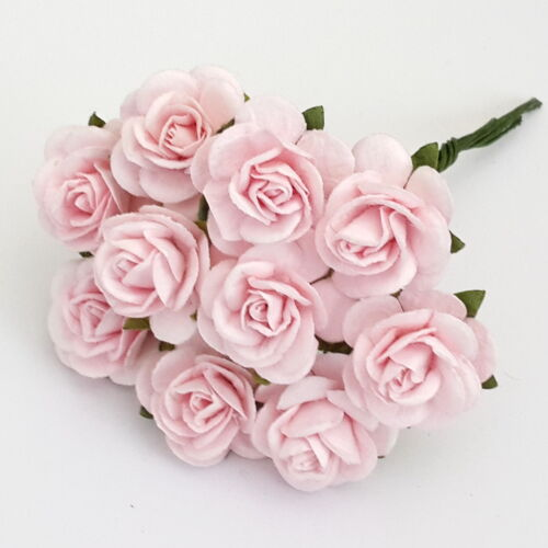 100 Shabby Pink Mulberry Paper Wedding Flower home decor craft supply roses R3-2