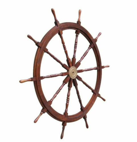 "XL 58"" Ships Steering Wheel Wooden Teak Helm Nautical Yard Decor New"