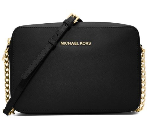 Michael Kors Jet Set Large EW Saffiano Leather Crossbody Bag in Black