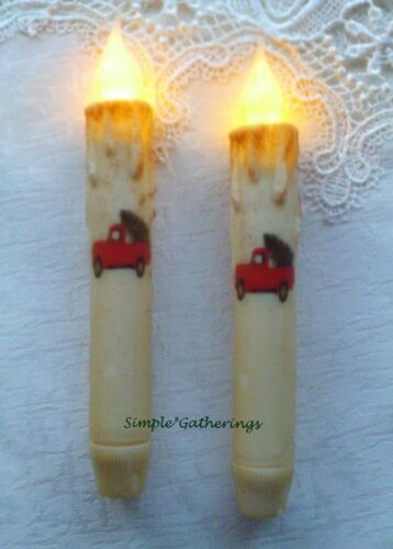 """2 RED TRUCK w/ CHRISTMAS TREE TIMER Taper Candles Grungy Cream 6 3/4"""" Primitive"""