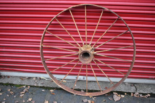 "LARGE Antique Wagon Tractor Wheel Metal 18 Spoke 43"" Tall #2 Country Americana"