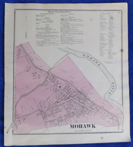 1869 NY Village of Mohawk Herkimer Co Map frm Atlas