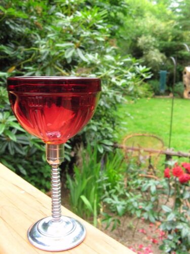 1 mid century modern ruby crystal goblet~1900's~removable chrome stem~deep red~