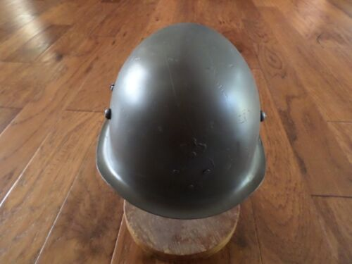 WWII ERA DANISH M/39 ROYAL GUARD HELMET WITH LINER AND LEATHER CHIN STRAPHats & Helmets - 36076