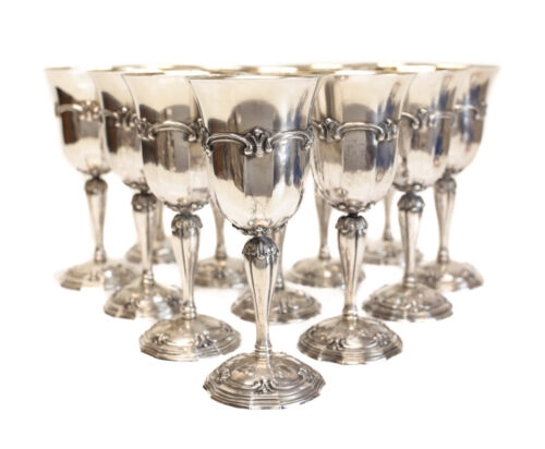 12 Exquisite Buccellati Sterling Silver Goblet Beakers in Grande Imperiale