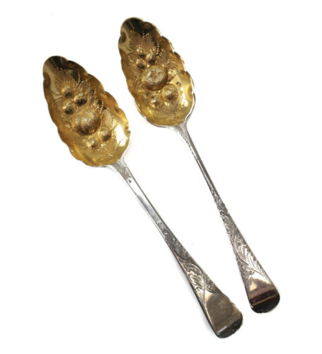 Pair Morris & Michael Emanuel London Sterling Silver Gilt Wash Berry Spoons