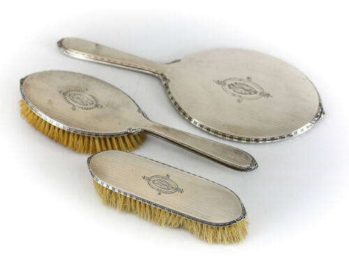 3pc William B. Kerr & Co. Sterling Silver Vanity Mirror, Clothes & Hand Brush