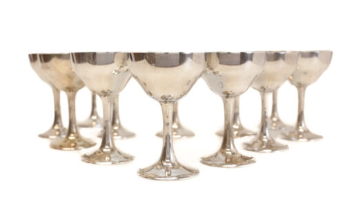 12 S. Kirk & Son Sterling Silver Sherry Red Wine Goblets #165C