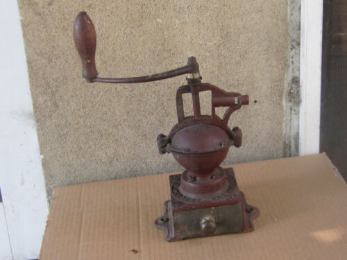 Antique French Cast Iron Big Coffee Grinder Peugeot Freres model a00 - 1900s