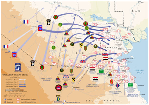 Map of Ground Operations of Operation Desert Storm from February 24-28th 1991Reproductions - 156449