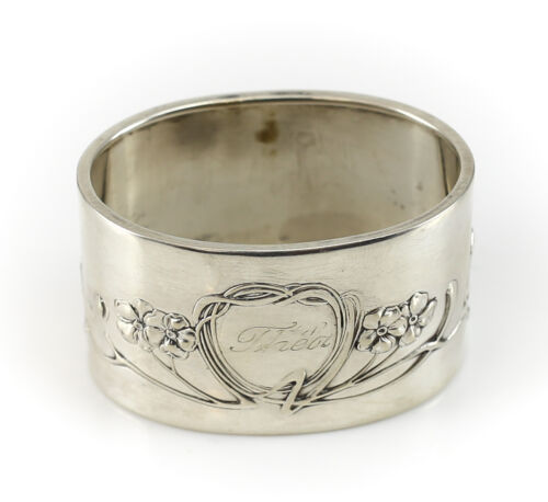Danish .830 Silver Napkin Ring Art Nouveau  C1920 Hand Chased Floral Design