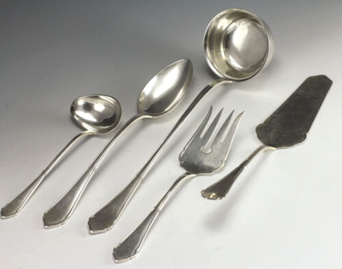 5pc 800 Silver Serving Set - Ladle, Spoon, Fork, Cake Knife, Sauce/Gravy Spoon
