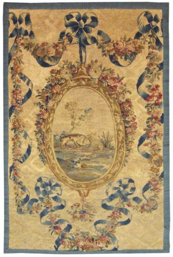 Antique 19th Century French Aubusson Needlepoint Tapestry with FREE SHIPPING!!!