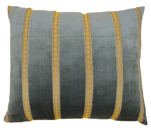 Vintage Decorative Art Deco Pillow in Light Green with Gold Stripe Brocade!
