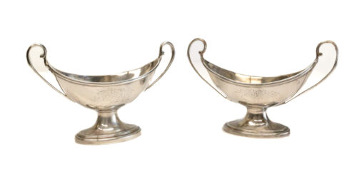 Pair John Vaughan George IV London Sterling Silver Open Salt Cellars, 1823