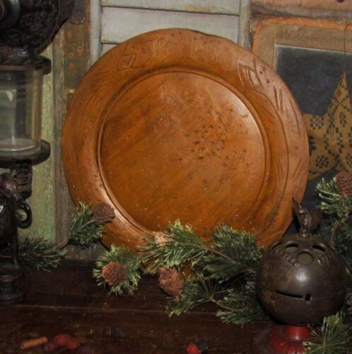 Prim Antique Wood Style Bread Cheese Board Cutting Resin Plate Reproduction ASIS