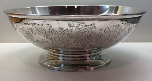 Unger Bros. Sterling Silver Hand Engrave Floral Footed Bowl 281 Grams 8""