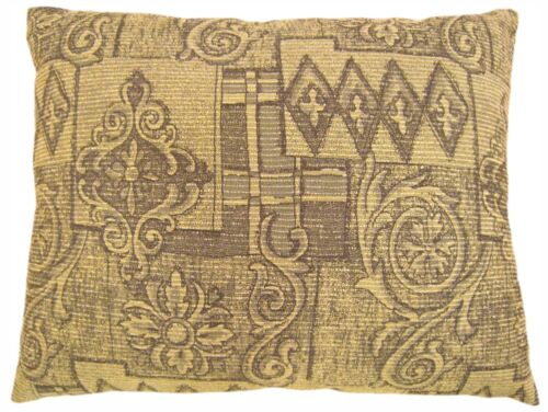 """Vintage Decorative Pillow with Floro-Geometric Design on Both Sides, 22"""" x 18"""""""