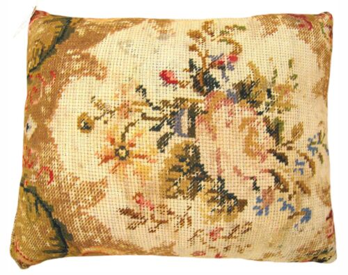 "Vintage Decorative English Needlepoint Pillow, size 20"" x 16"", & Free Shipping!!"