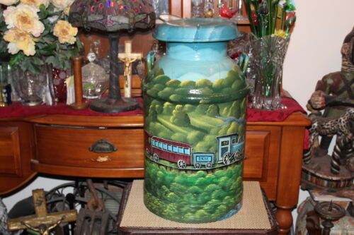 Antique Milk Can Hand Painted Erie Railroad Covered Bridge-Signed EWALD