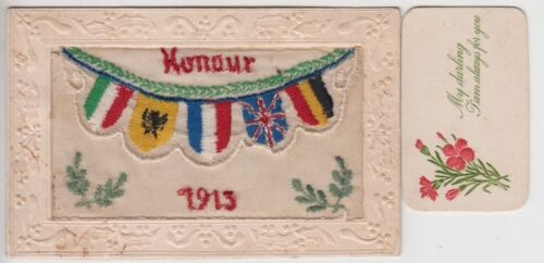 """WW1 ANZAC silk postcard """"Honour 1915"""" from soldier Sam to wife including insert"""