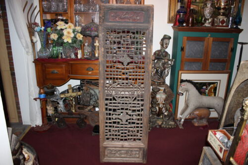 LARGE Antique Chinese Single Panel Wood Carved Divider Lattice Screen-Detailed