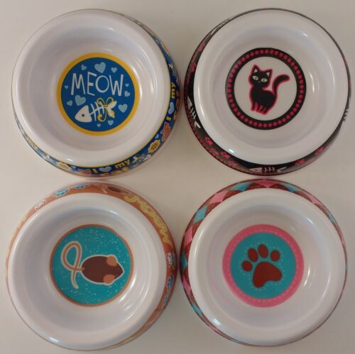 "FOOD WATER BOWLS CAT CATS KITTENS 5.5"" x 1.5"" SELECT: Bowl Center Design"