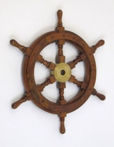 "SHIP WHEEL WOODEN 18""D WOODEN SHIP WHEEL PIRATE DECOR NAUTICAL MARITIME BOAT"