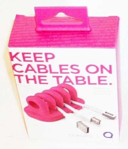 Quirky Cordies Keep Cables On The Table Desktop Cord Clips & Anchor PINK