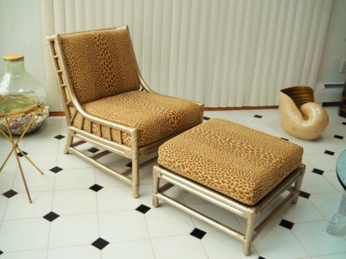 Tommi Parzinger Club Lounge Chair and Ottoman Willow & Reed Pavilion Collection