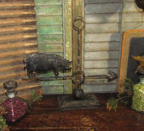 Primitive Antique Vtg Style Country Farm Barn Yard Metal Pig Hog Weather Vane