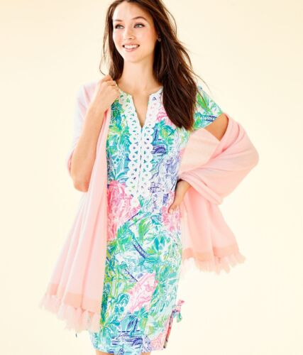 Nuovo Lilly Pulitzer Take Me Away Cashmere Avvolgere melon Fig Tinta Nappe Lurex