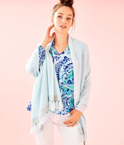 Nuovo Lilly Pulitzer Take Me Away Cashmere Avvolgere Whisper Blu Nappa Lurex