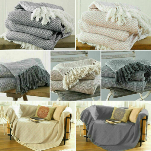 Large & XL Cotton Traditional Como Safi Blanket Home Chair / Sofa / Bed Throws <br/> Large ✓ Extra Large Sofa ✓ Blush Pink ✓ Grey ✓ Natural