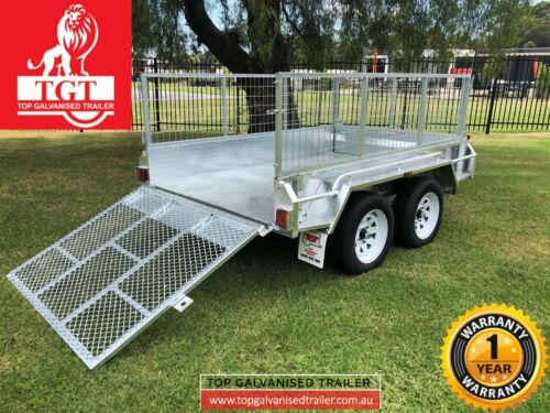 8x5 Tandem trailer galvanised with1.2m ramp 600mm mesh Cage 2000kgs ATM new tyer