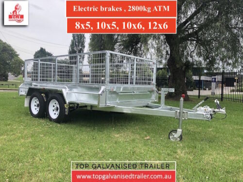 8x5 Tandem trailer electric brakes heavy duty box trailer mesh cage 2800kg ATM