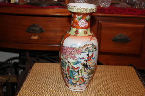 Chinese Asian Porcelain Vase Women Water Boats Flowers
