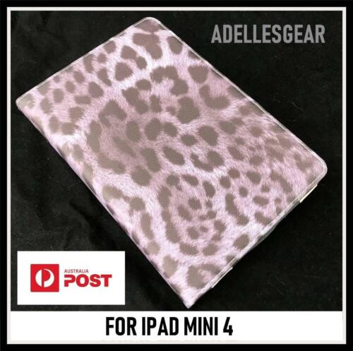 FOR  APPLE IPAD MINI 4 - GREY  LEOPARD  DESIGN