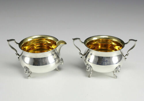 2 pc American Sterling Silver Claw Footed Cream & Sugar Set by Poole Georgian