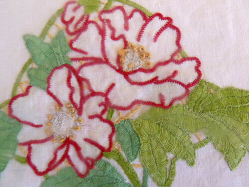 PEACEFUL RED PEONIES Vintage Heavily Hand Embroidered Tea Cosy/ Toaster Cover